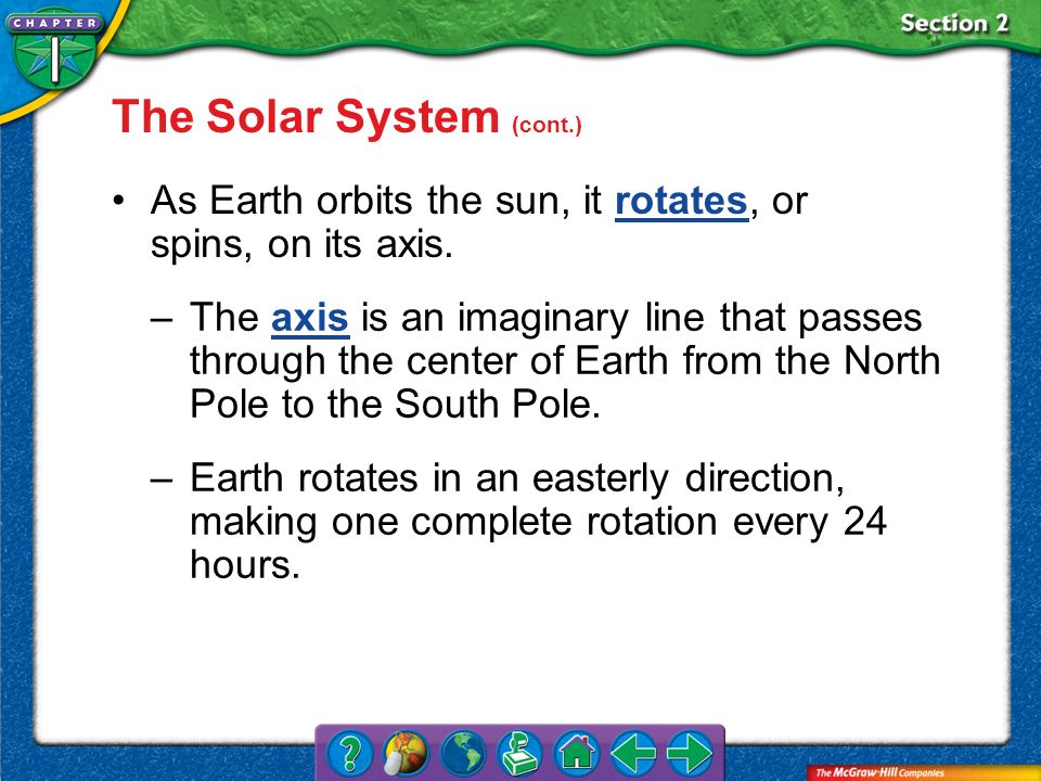 The Solar System (cont.)