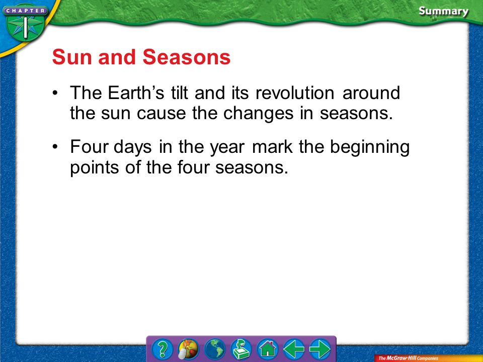 Sun and Seasons The Earth's tilt and its revolution around the sun cause the changes in seasons.