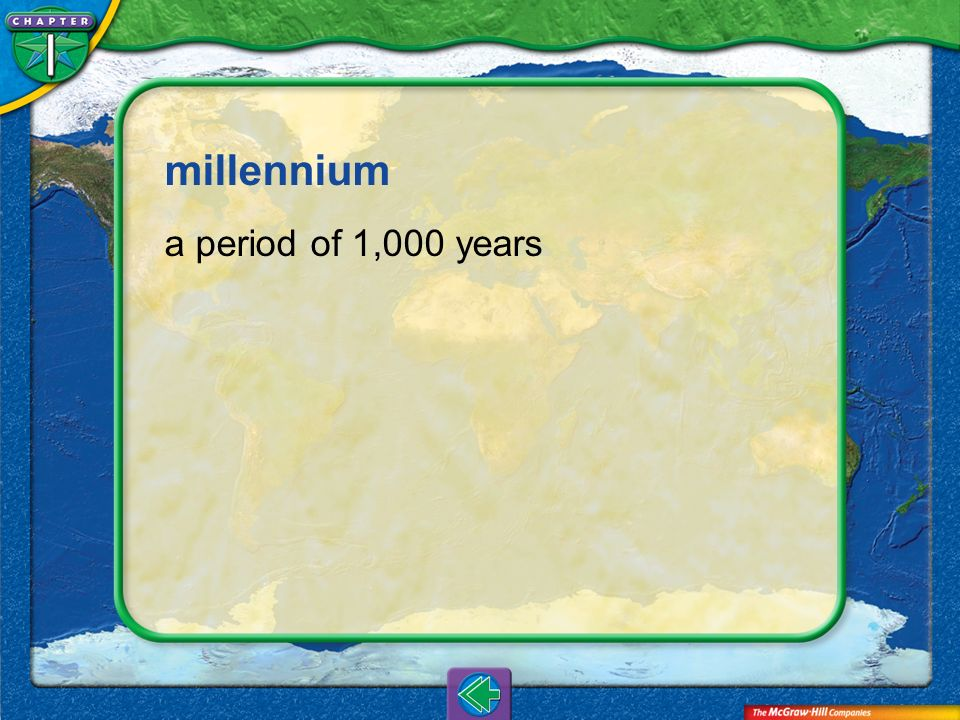 millennium a period of 1,000 years Vocab7