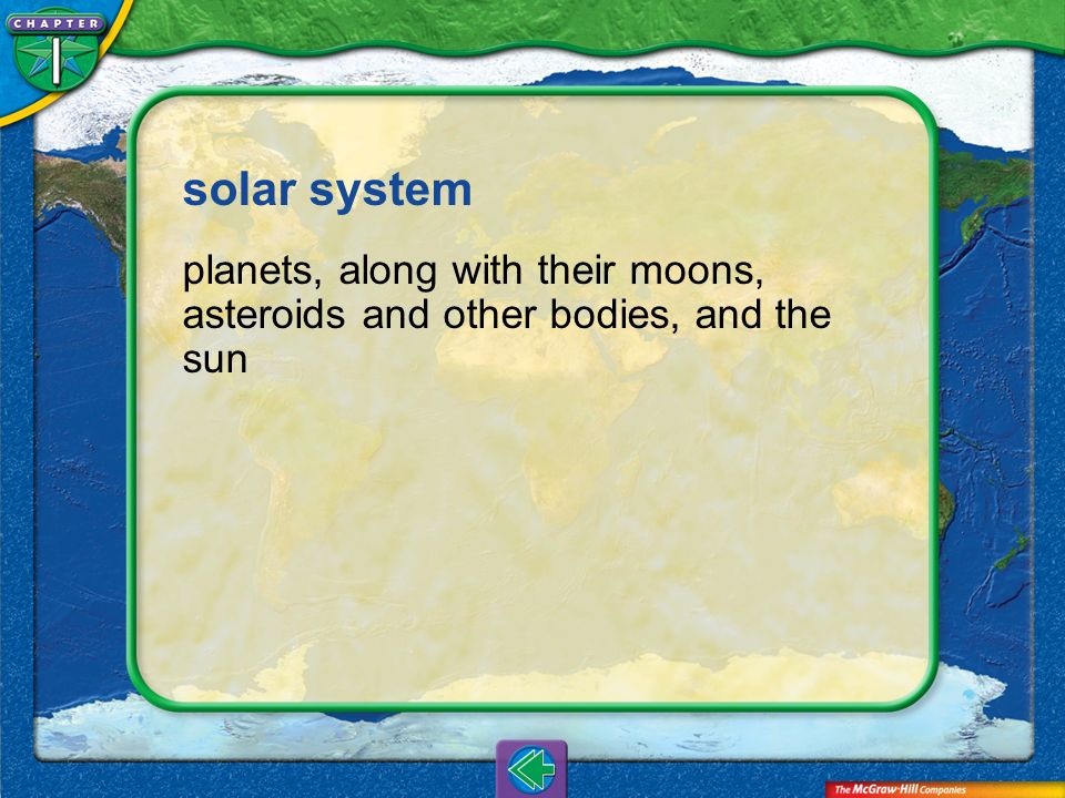 solar system planets, along with their moons, asteroids and other bodies, and the sun Vocab10