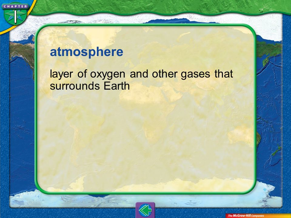 atmosphere layer of oxygen and other gases that surrounds Earth