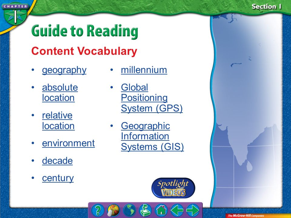 Content Vocabulary geography absolute location relative location