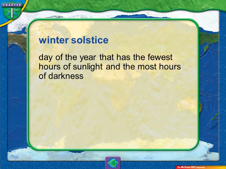 winter solstice day of the year that has the fewest hours of sunlight and the most hours of darkness.
