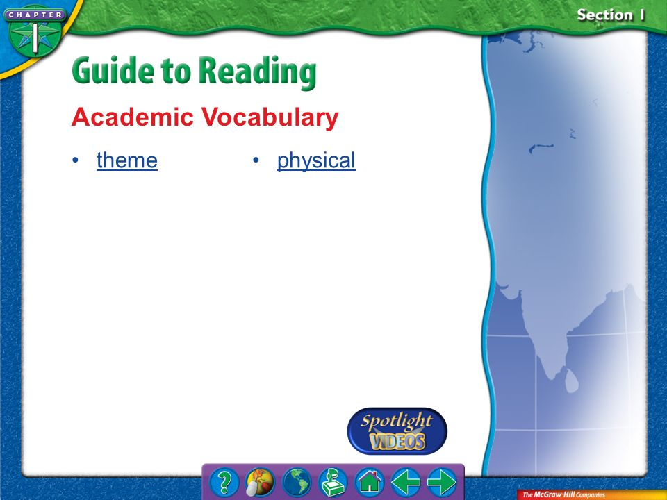 Academic Vocabulary theme physical Section 1-Key Terms