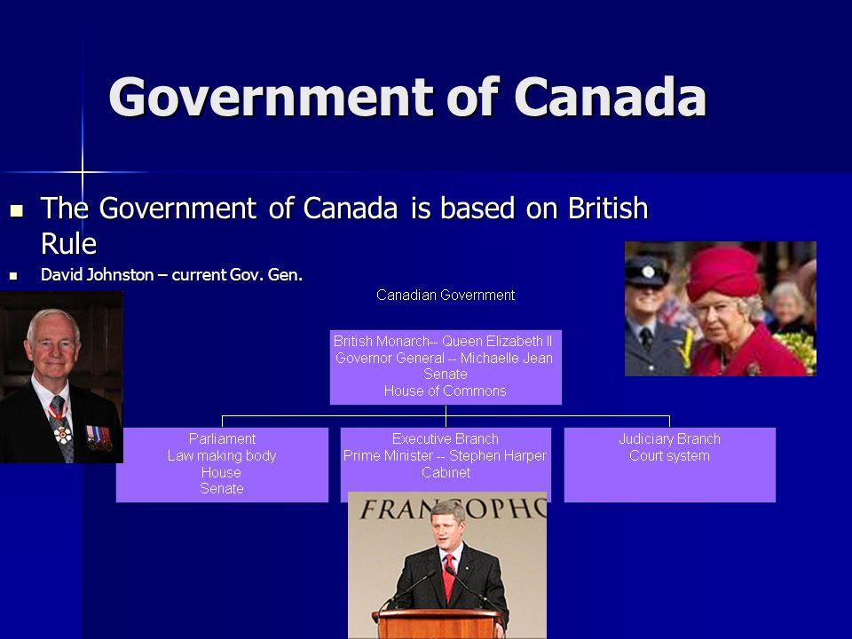 Government of Canada The Government of Canada is based on British Rule