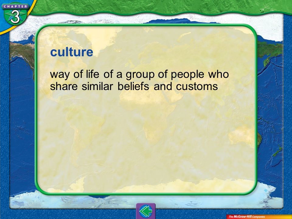 culture way of life of a group of people who share similar beliefs and customs Vocab10