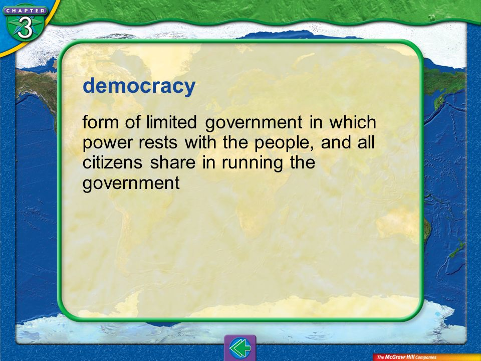 democracy form of limited government in which power rests with the people, and all citizens share in running the government.
