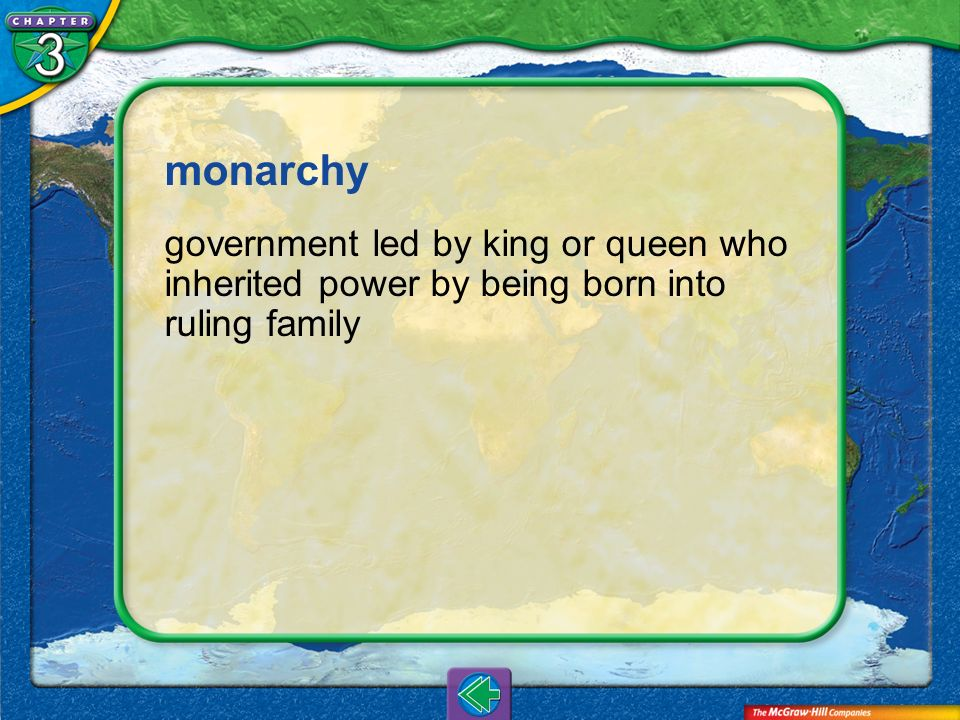 monarchy government led by king or queen who inherited power by being born into ruling family.