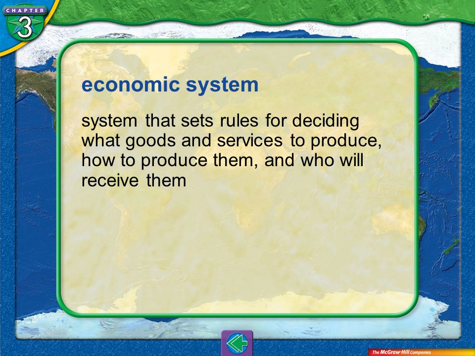 economic system system that sets rules for deciding what goods and services to produce, how to produce them, and who will receive them.