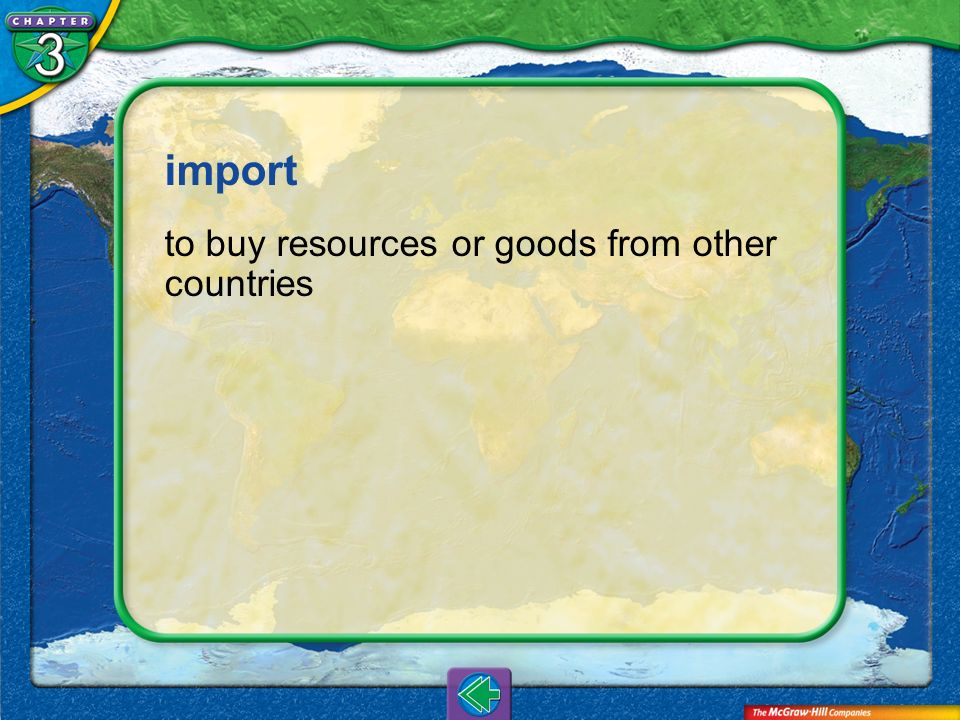 import to buy resources or goods from other countries Vocab30