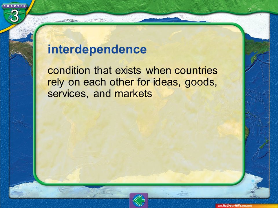 interdependence condition that exists when countries rely on each other for ideas, goods, services, and markets.
