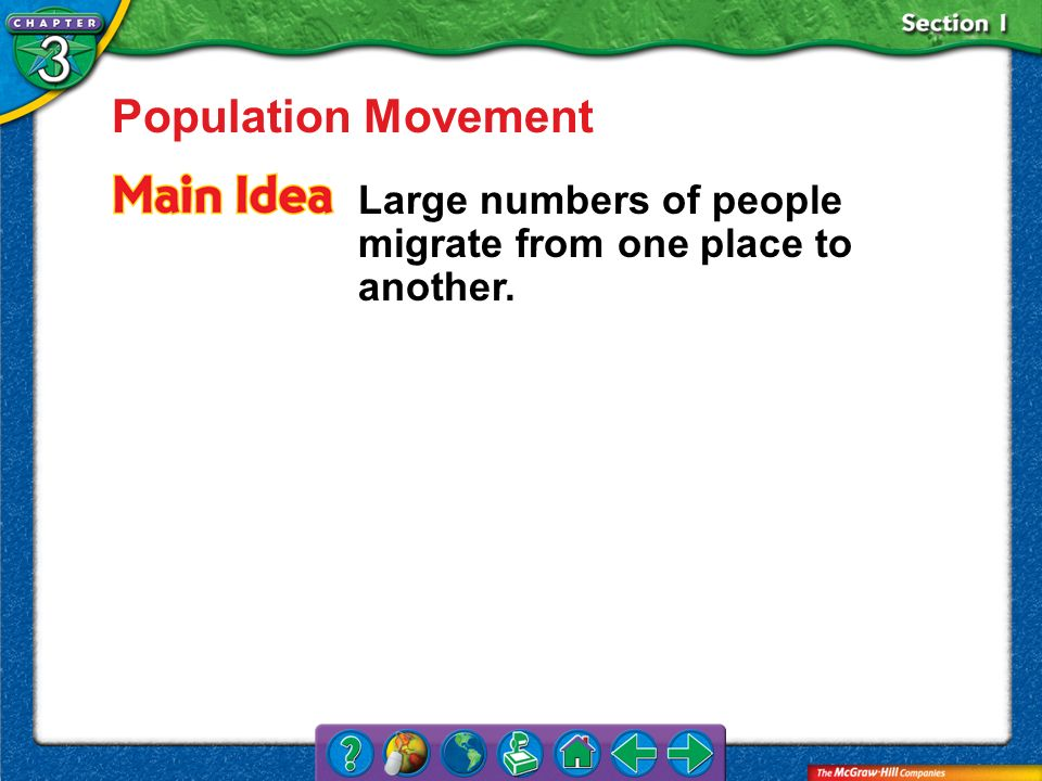 Population Movement Large numbers of people migrate from one place to another. Section 1