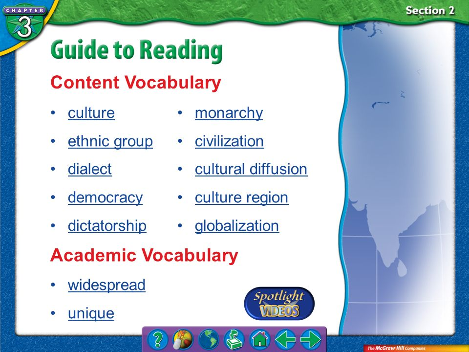 Content Vocabulary Academic Vocabulary culture ethnic group dialect