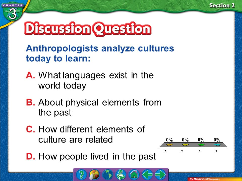 Anthropologists analyze cultures today to learn: