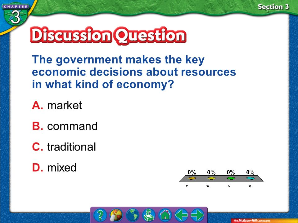 The government makes the key economic decisions about resources in what kind of economy