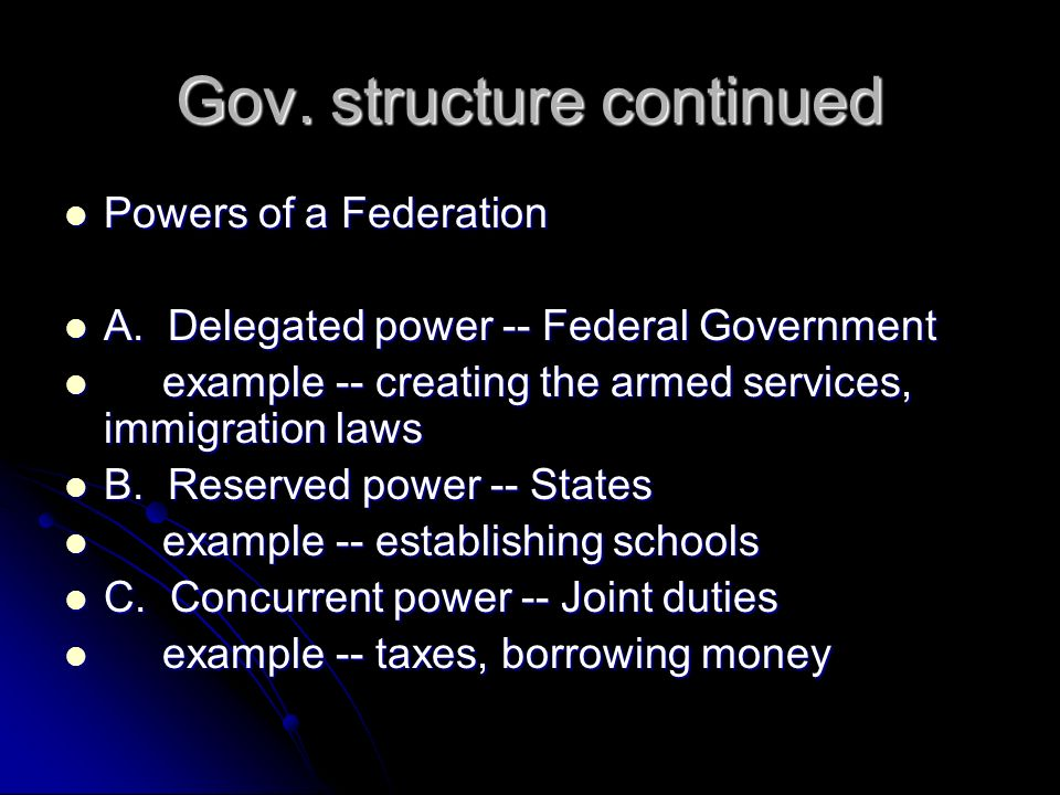 Gov. structure continued