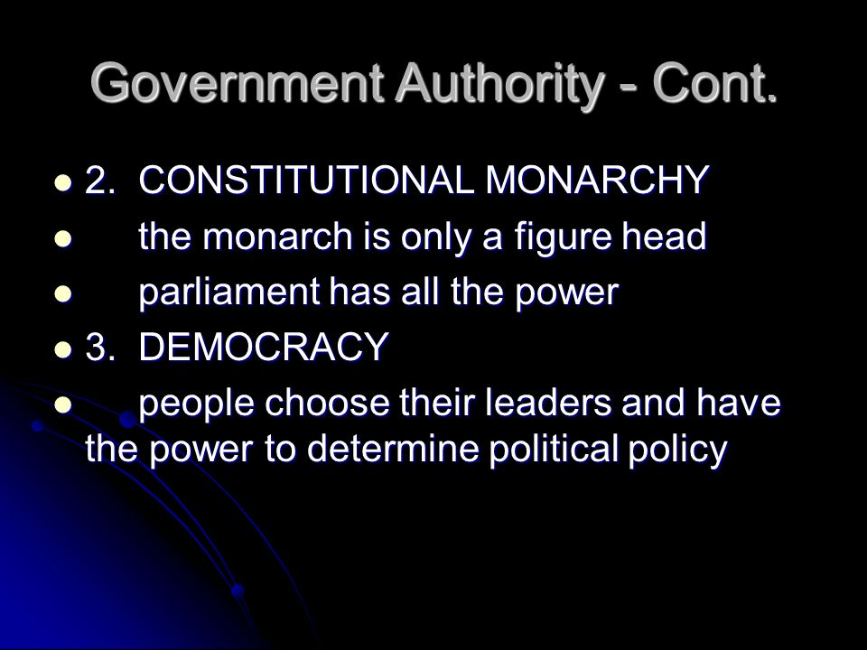 Government Authority - Cont.