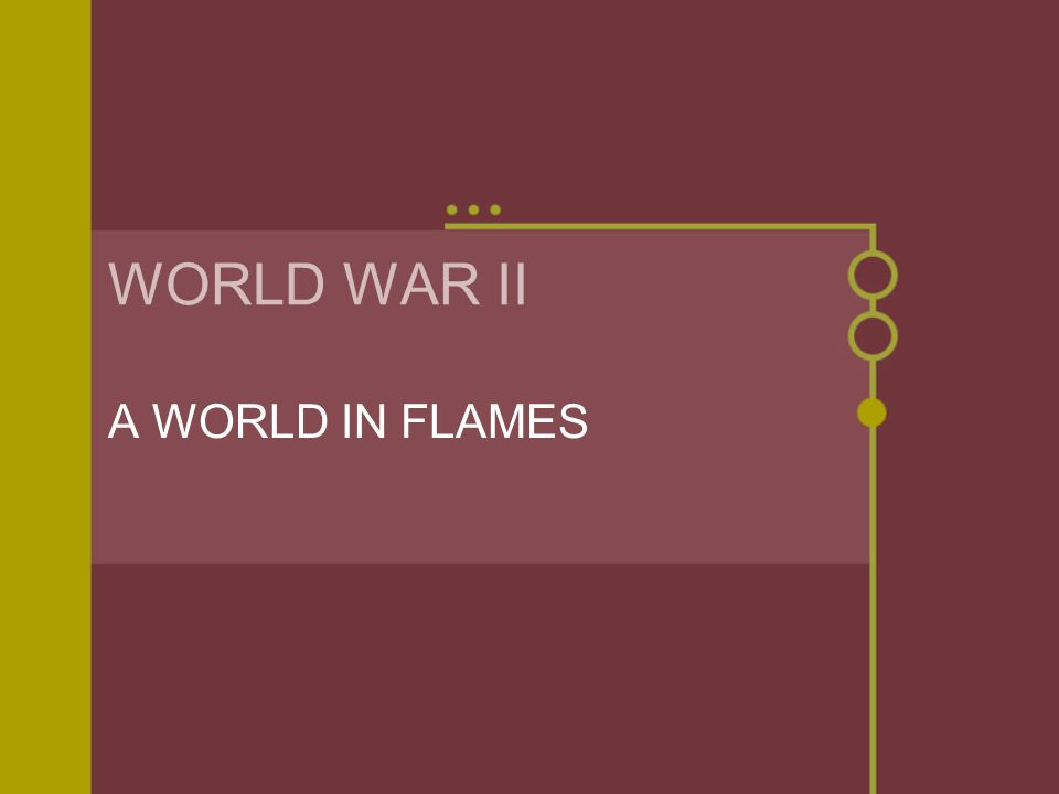 WORLD WAR II A WORLD IN FLAMES