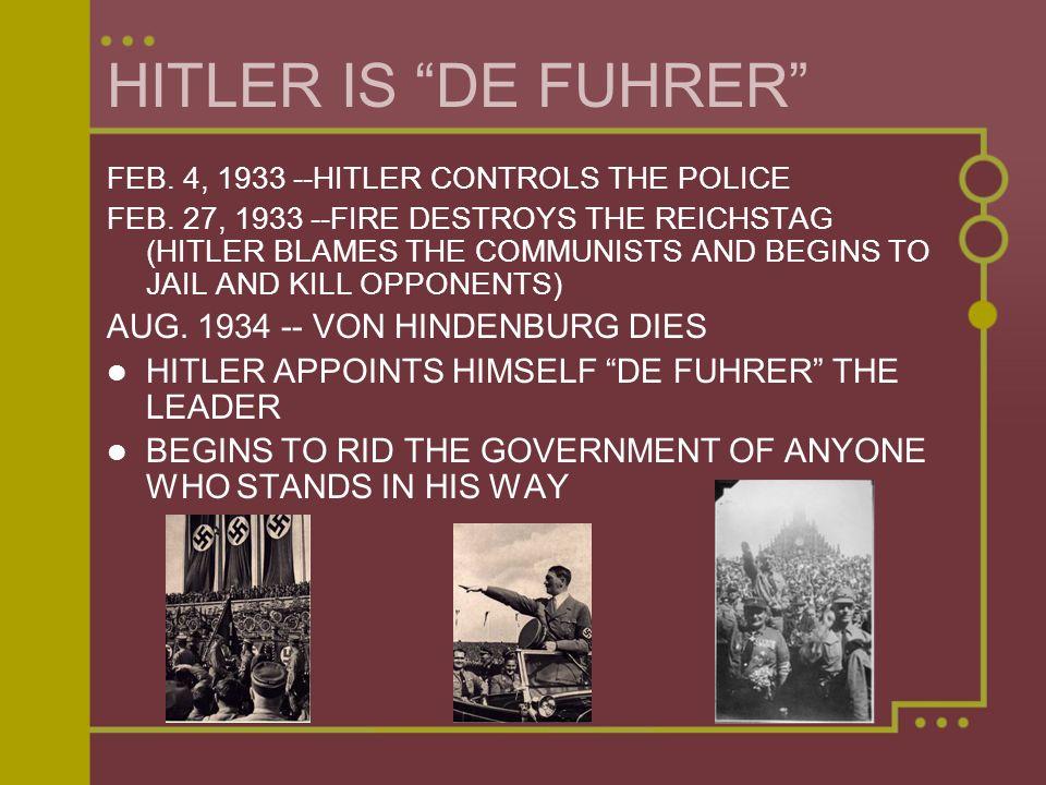 HITLER IS DE FUHRER AUG. 1934 -- VON HINDENBURG DIES