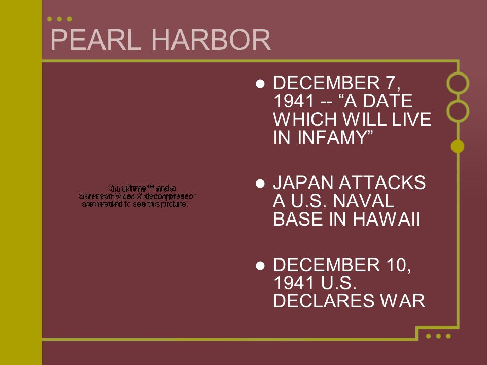 PEARL HARBOR DECEMBER 7, 1941 -- A DATE WHICH WILL LIVE IN INFAMY
