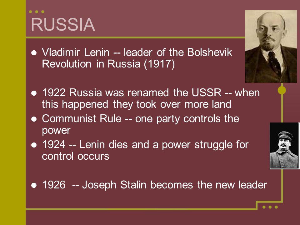 RUSSIA Vladimir Lenin -- leader of the Bolshevik Revolution in Russia (1917)