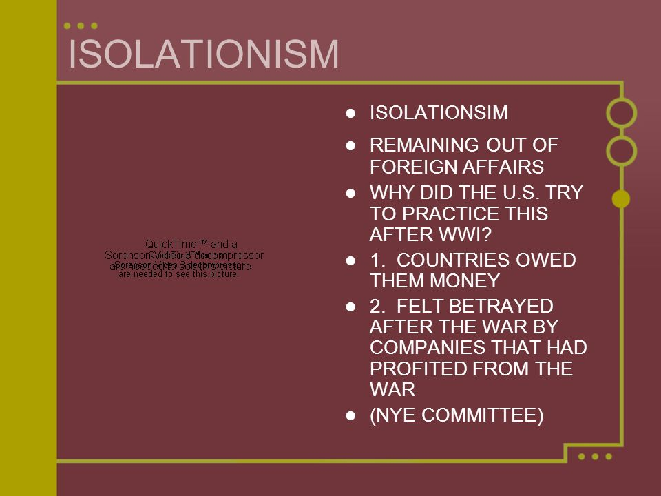 ISOLATIONISM ISOLATIONSIM REMAINING OUT OF FOREIGN AFFAIRS