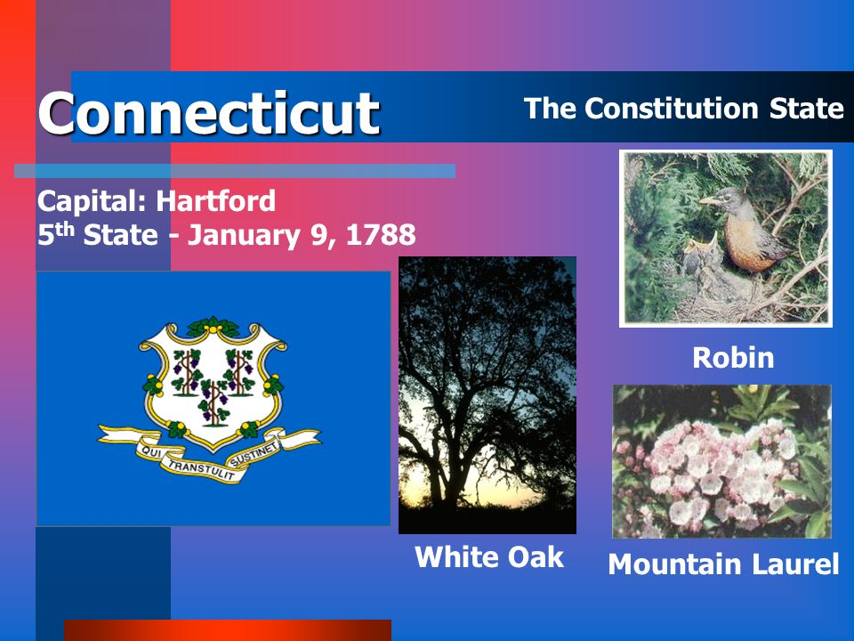 Connecticut The Constitution State Capital: Hartford