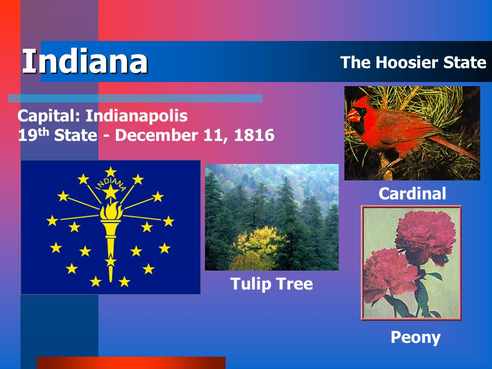 Indiana The Hoosier State Capital: Indianapolis