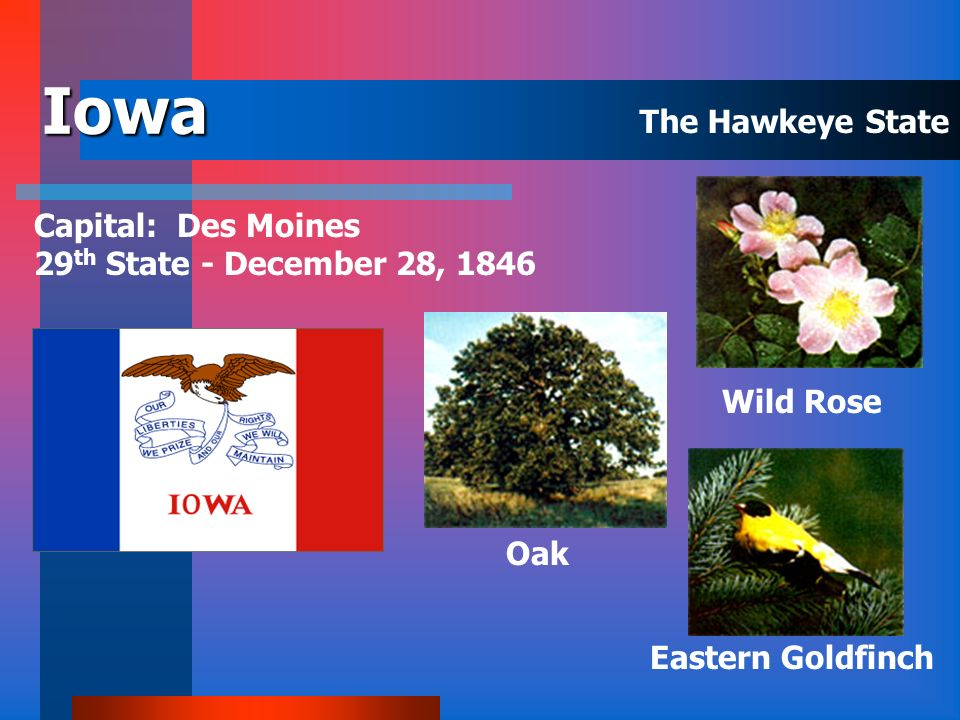 Iowa The Hawkeye State. Capital: Des Moines 29th State - December 28, 1846.