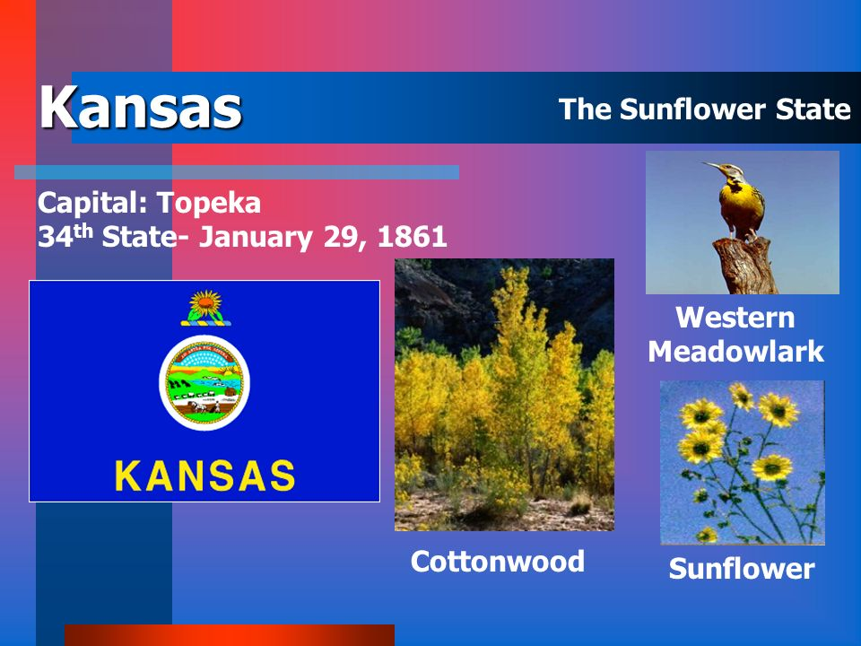 Kansas The Sunflower State Capital: Topeka