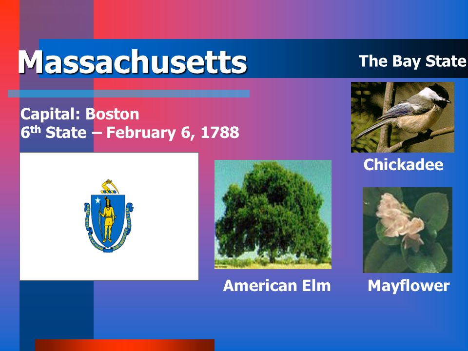 Massachusetts The Bay State Capital: Boston