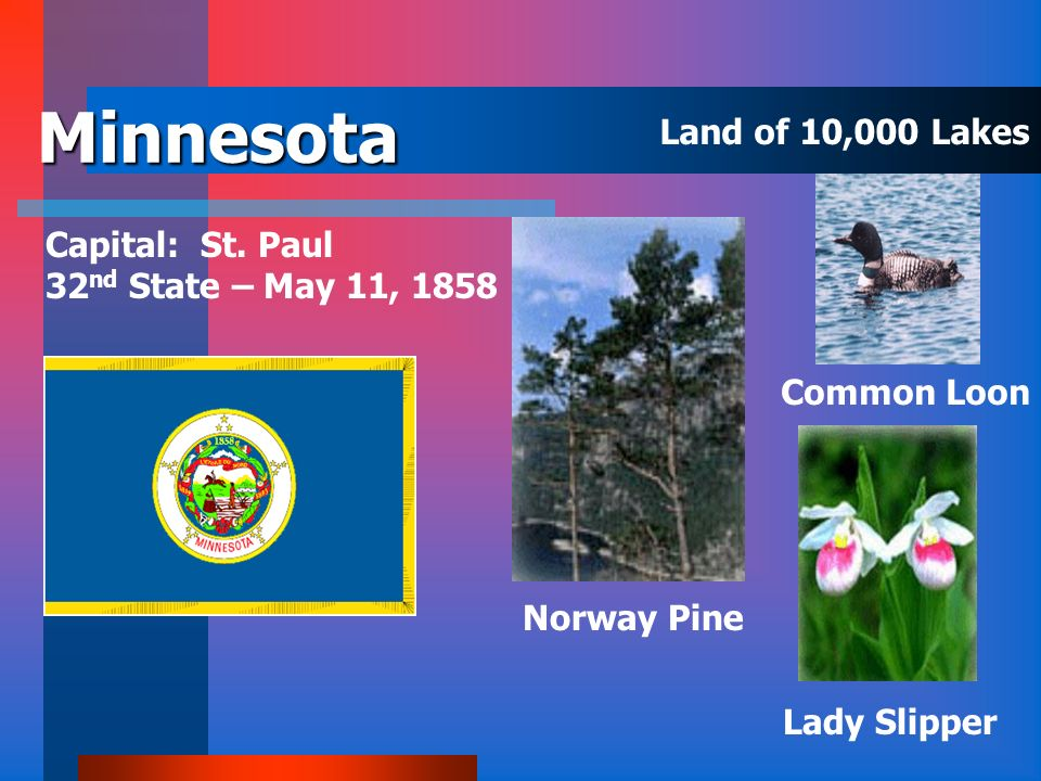 Minnesota Land of 10,000 Lakes Capital: St. Paul