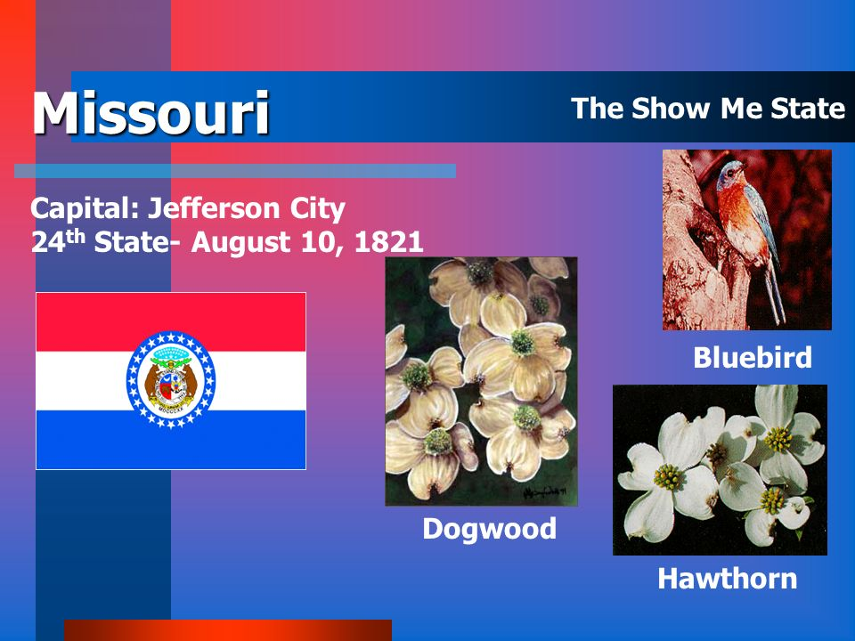 Missouri The Show Me State Capital: Jefferson City