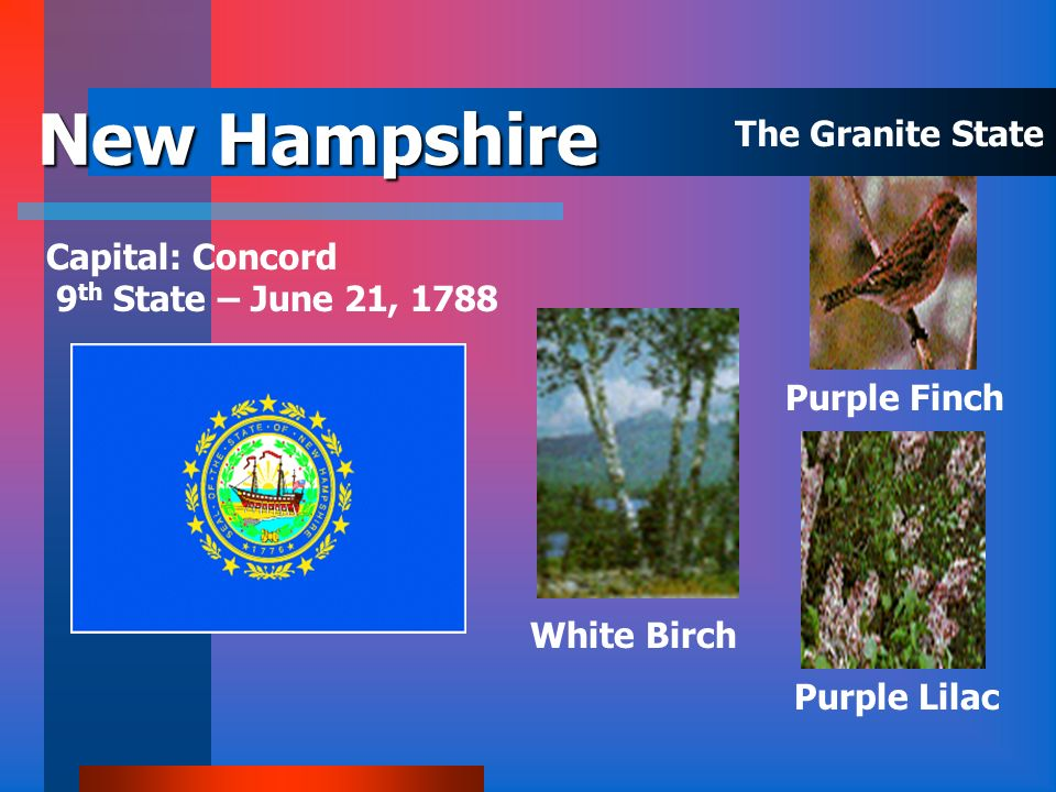 New Hampshire The Granite State Capital: Concord