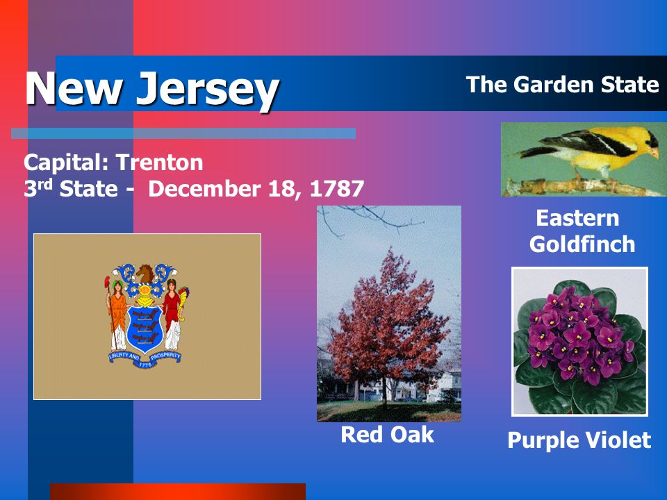 New Jersey The Garden State Capital: Trenton