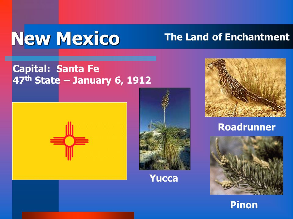 New Mexico The Land of Enchantment Capital: Santa Fe