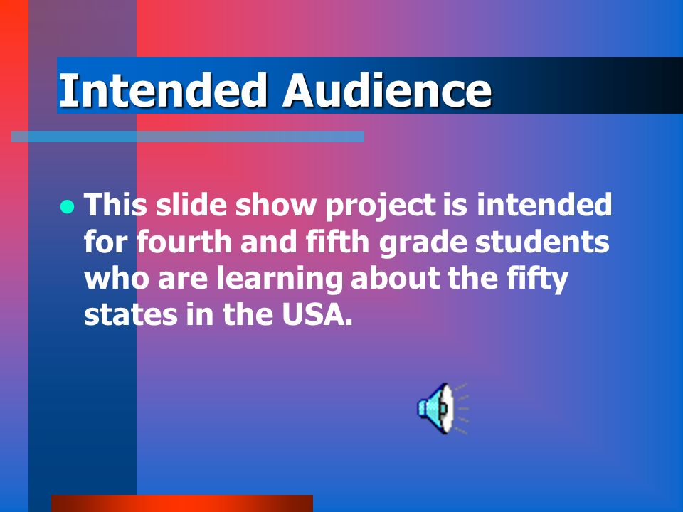 Intended Audience This slide show project is intended for fourth and fifth grade students who are learning about the fifty states in the USA.