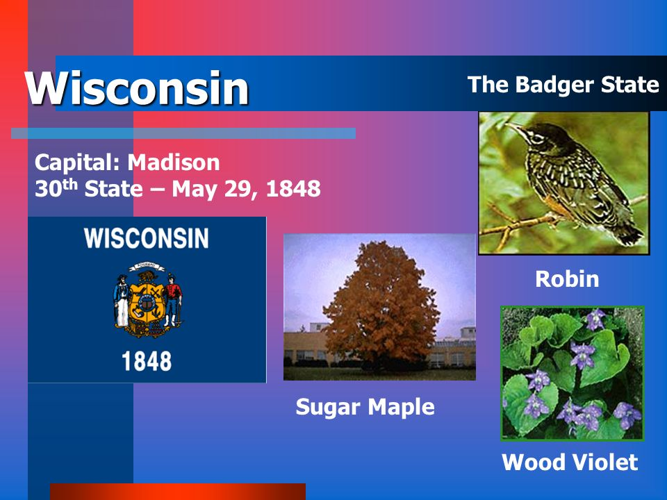 Wisconsin The Badger State Capital: Madison 30th State – May 29, 1848