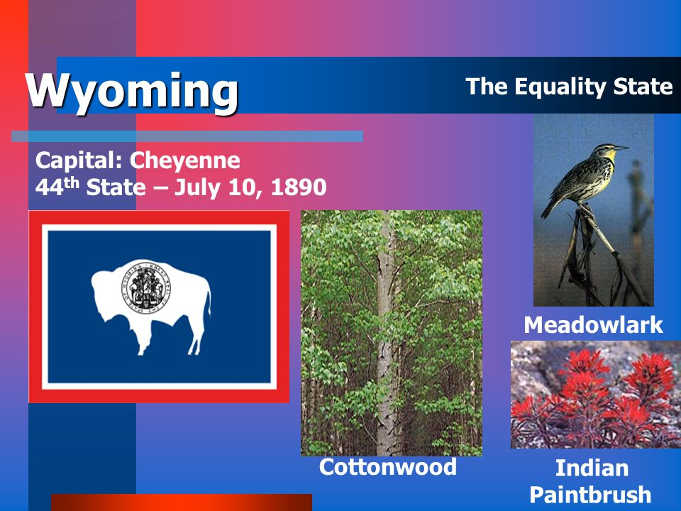 Wyoming The Equality State Capital: Cheyenne
