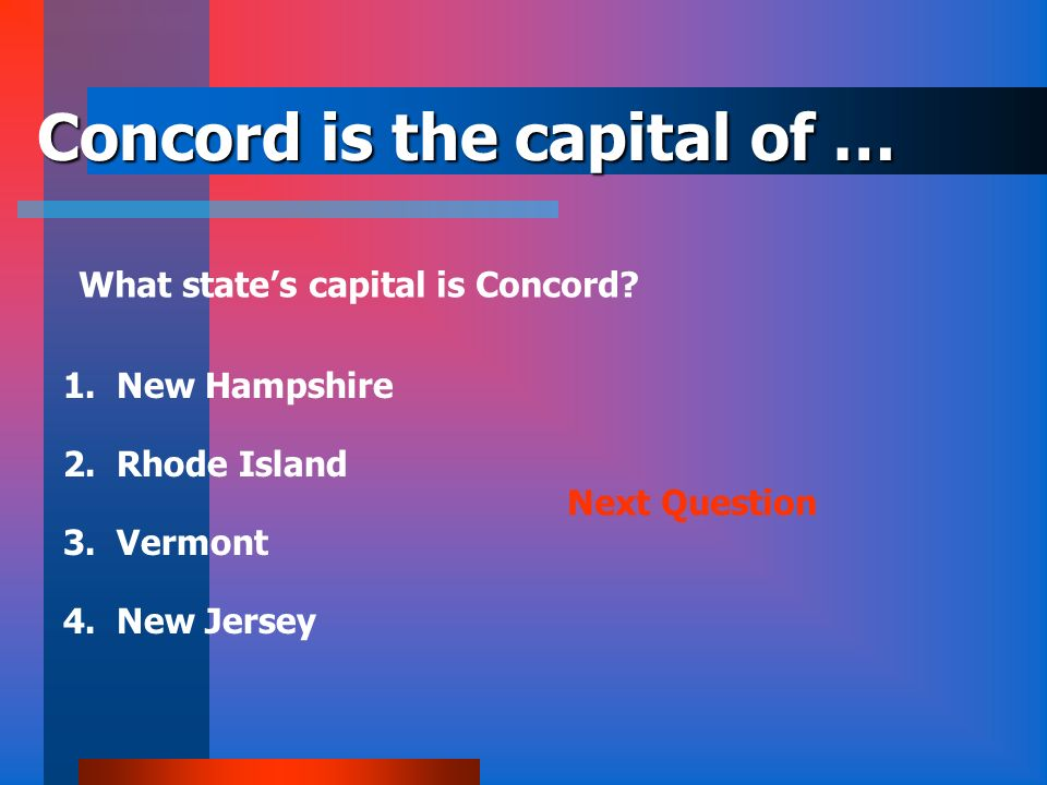 Concord is the capital of …