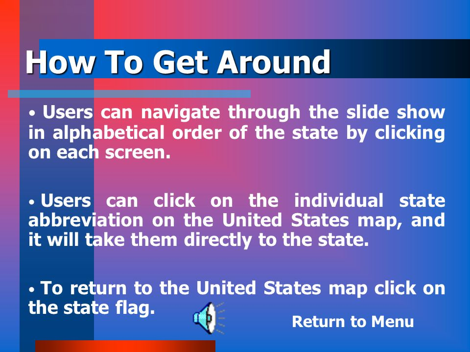 How To Get Around Users can navigate through the slide show in alphabetical order of the state by clicking on each screen.