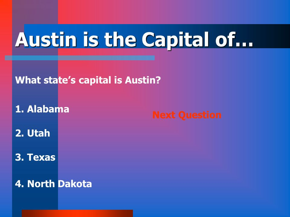 Austin is the Capital of…