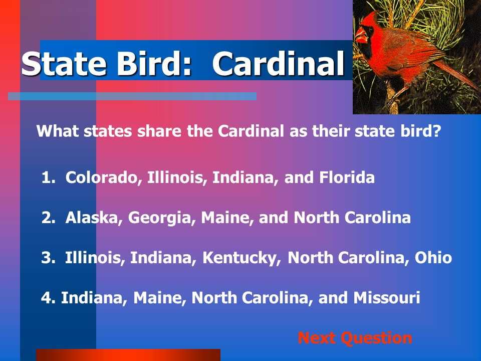 State Bird: Cardinal What states share the Cardinal as their state bird 1. Colorado, Illinois, Indiana, and Florida.