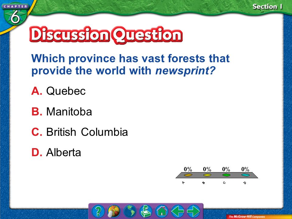Which province has vast forests that provide the world with newsprint