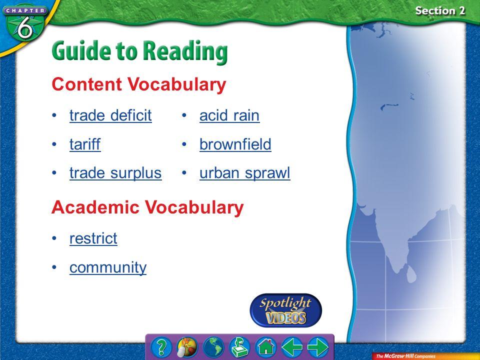Content Vocabulary Academic Vocabulary trade deficit tariff
