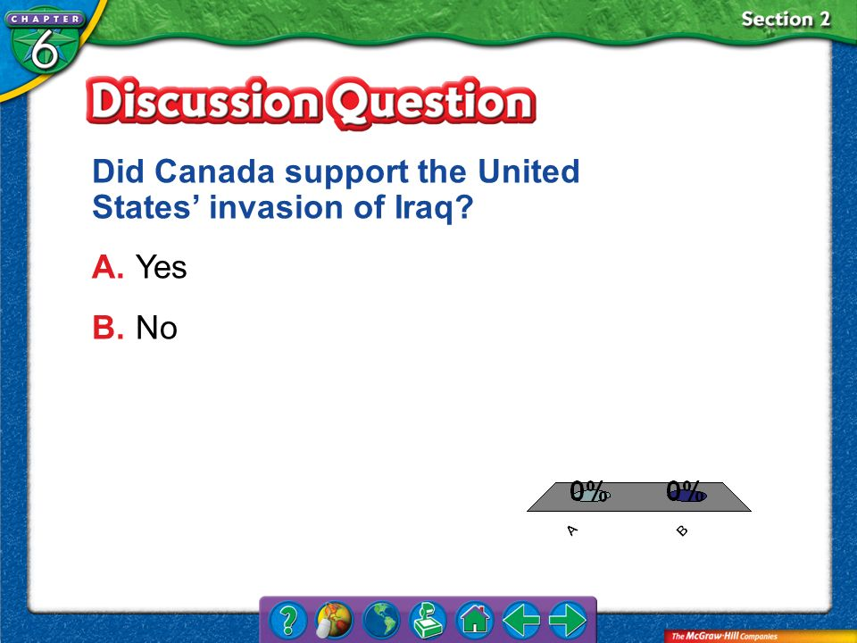 Did Canada support the United States' invasion of Iraq A. Yes B. No