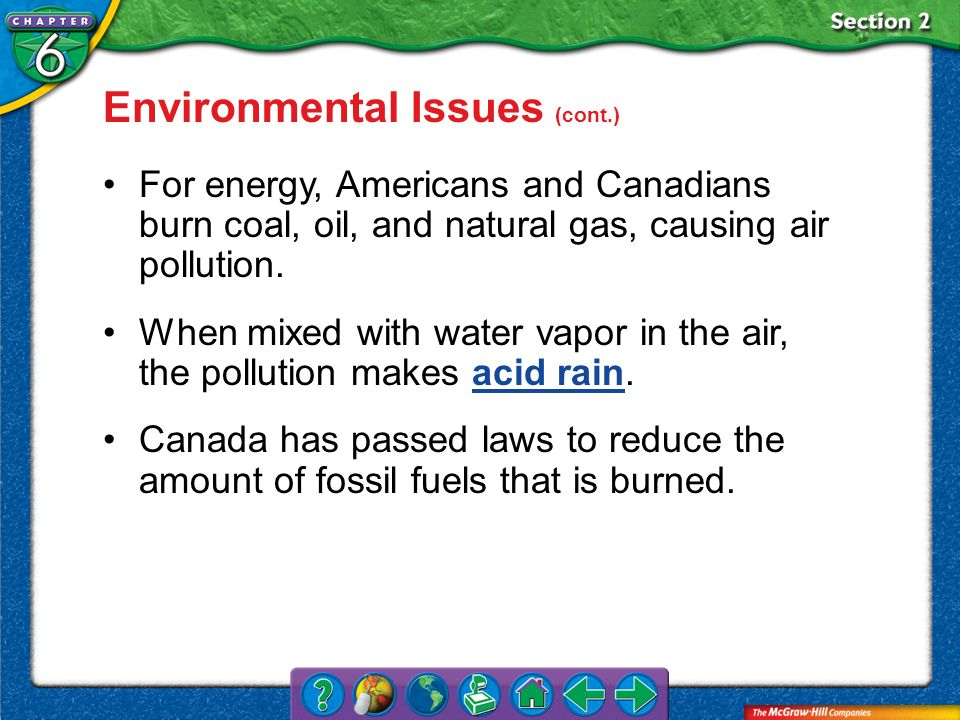 Environmental Issues (cont.)
