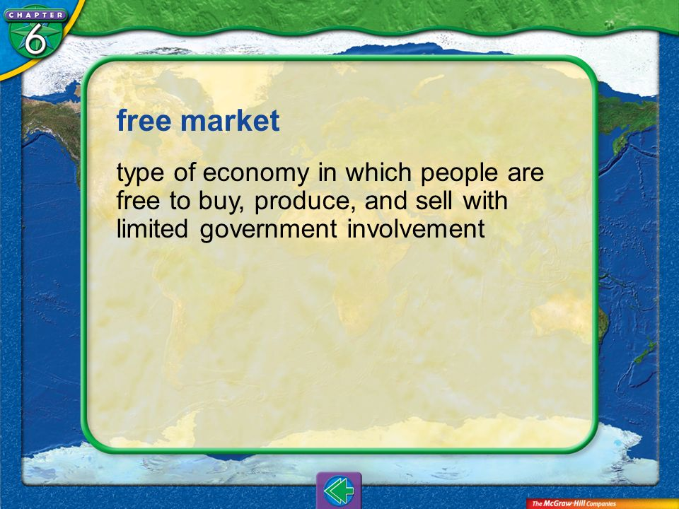 free market type of economy in which people are free to buy, produce, and sell with limited government involvement.