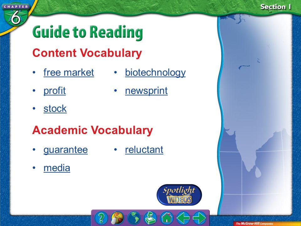 Content Vocabulary Academic Vocabulary free market profit stock