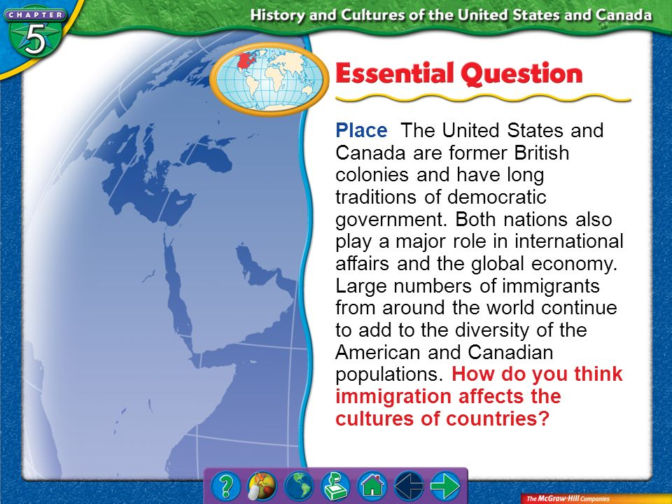 Place The United States and Canada are former British colonies and have long traditions of democratic government. Both nations also play a major role in international affairs and the global economy. Large numbers of immigrants from around the world continue to add to the diversity of the American and Canadian populations. How do you think immigration affects the cultures of countries